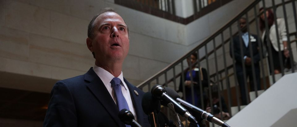 WASHINGTON, DC - SEPTEMBER 19: Committee Chairman Rep. Adam Schiff (D-CA) speaks to members of the media after Intelligence Community Inspector General Michael Atkinson met behind closed doors with the House Intelligence Committee at the U.S. Capitol September 19, 2019 in Washington, DC. Atkinson was on the Hill to discuss a whistleblower complaint regarding a phone conversation between President Donald Trump and a foreign leader. (Photo by Alex Wong/Getty Images)