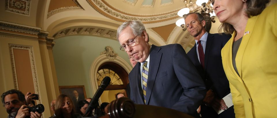 Senate Majority Leader Mitch McConnell (R-KY) answers questions on the potential of impeachment proceedings against U.S. President Donald Trump on September 24, 2019 in Washington, DC. (Win McNamee/Getty Images)