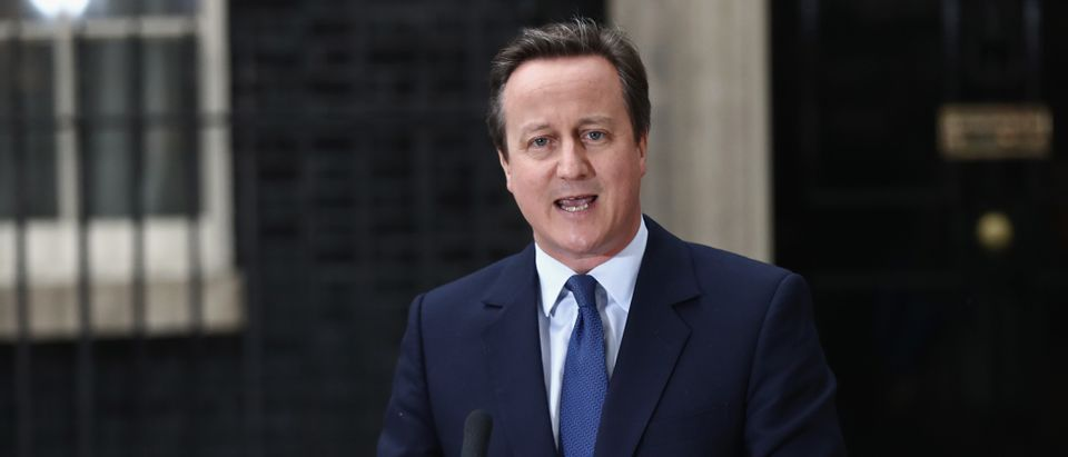 Prime Minister David Cameron speaks as he leaves Downing Street for the last time on July 13, 2016 in London, England. (Carl Court/Getty Images)