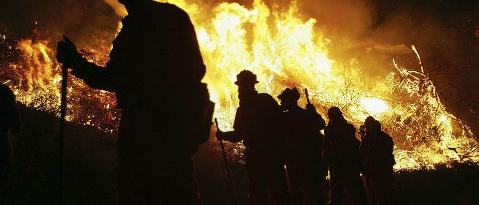 VENTURA, CA - NOVEMBER 18: An inmate hand crew walks past flames at the School Canyon Fire on November 18, 2005 in Ventura, California. The late-season wildfire has burned across more than 4,000 acres and had threatened 200 homes. Prompted by high winds and low humidity, this is the fourth consecutive day the National Weather Service to issue a Red Flag Warning, indicating dangerous wildfire conditions. (Photo by David McNew/Getty Images)