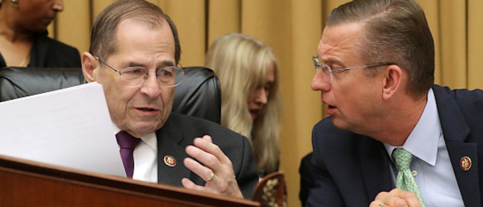 House Judiciary Committee Chairman Jerrold Nadler (D-NY) (L) talks with ranking member Rep. Doug Collins (R-GA) before a hearing about the Mueller Reporter in the Rayburn House Office Building on Capitol Hill June 10, 2019 in Washington, DC