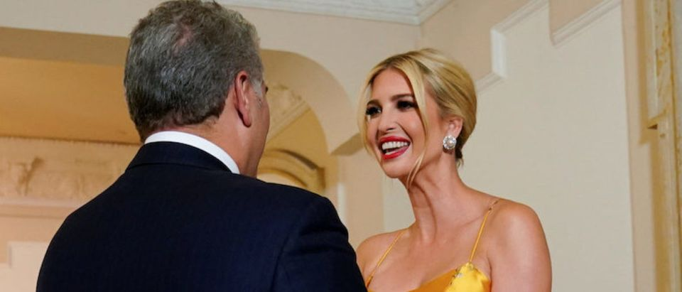 White House adviser Ivanka Trump, on a visit to South America, is greeted by Colombian President Ivan Duque and his wife Maria Ruiz upon her arrival at the presidential palace in Bogota, Colombia September 3, 2019. REUTERS/Kevin Lamarque