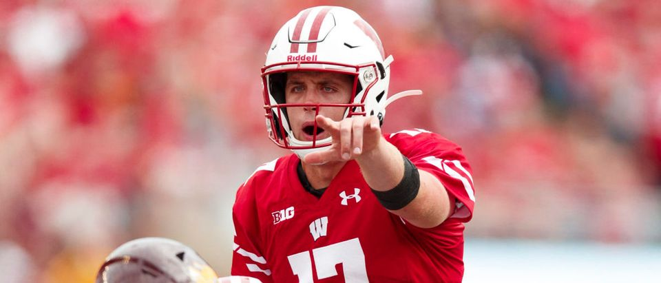 Sep 7, 2019; Madison, WI, USA; Wisconsin Badgers quarterback Jack Coan (17) signals during the second quarter against the Central Michigan Chippewas at Camp Randall Stadium. (Mandatory Credit: Jeff Hanisch-USA TODAY Sports - via Reuters)