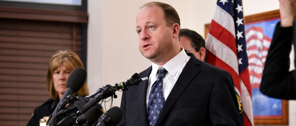 Colorado Gov. Jared Polis speaks to the media regarding the shooting at STEM School Highlands Ranch during a press conference at the Douglas County Sheriffs Office Highlands Ranch Substation on May 8, 2019 in Highlands Ranch, Colorado. (Photo by Michael Ciaglo/Getty Images)
