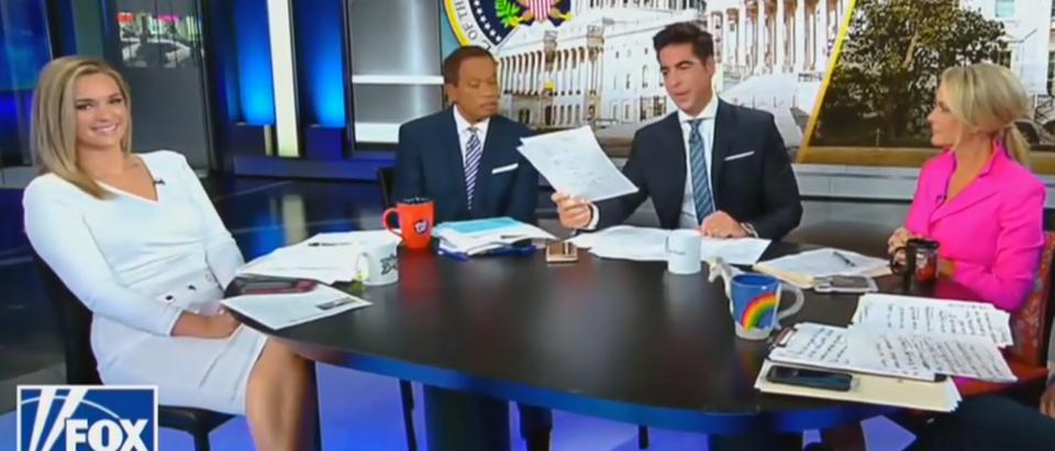 Jesse Watters brings out treaty on air (Fox News screengrab)