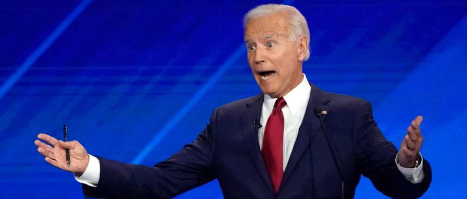 Former Vice President Joe Biden speaks during the 2020 Democratic U.S. presidential debate in Houston, Texas, U.S.
