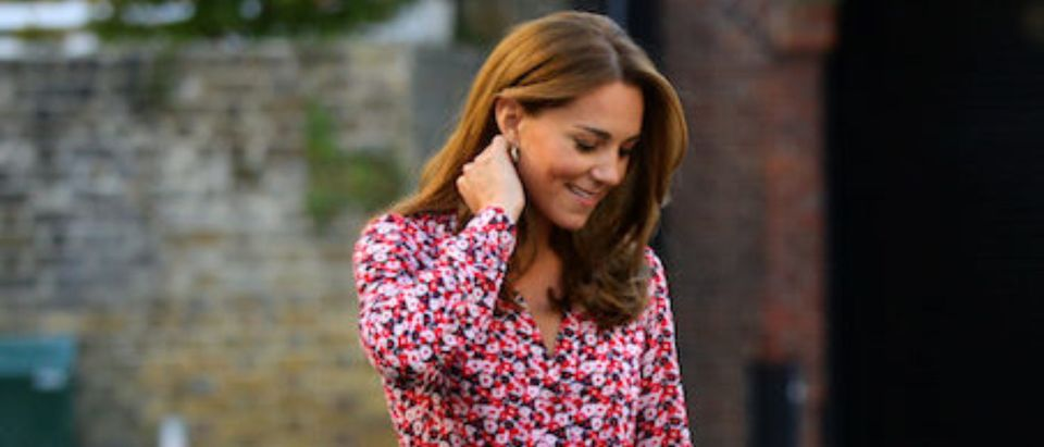 Helen Haslem, the head of the school greets Britain's Princess Charlotte as she arrives for her first day of school accompanied by her mother Catherine, Duchess of Cambridge, father Prince William, Duke of Cambridge and brother Prince George, at Thomas's Battersea in London, Britain September 5, 2019. Aaron Chown/Pool via REUTERS
