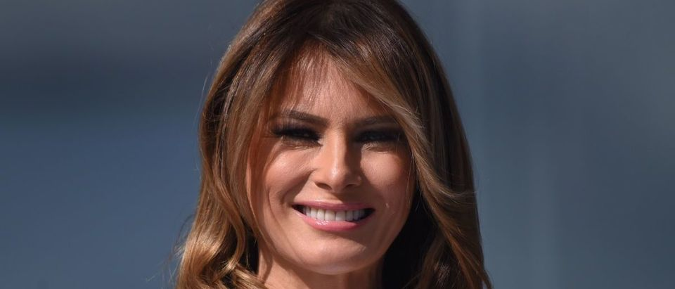 US First Lady Melania Trump looks during the reopening of the Washington Monument on the National Mall on September 19, 2019 in Washington, DC. (Photo credit: OLIVIER DOULIERY/AFP/Getty Images)
