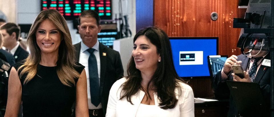 """First Lady Melania Trump walks the trading floor at the New York Stock Exchange in the borough of Manhattan, New York on September 23, 2019 in New York City. The First Lady appeared at the Stock Exchange to promote her """"Be Best"""" anti-bullying initiative, meeting with students from the United Nations International School before ringing the opening bell. (Photo by Scott Heins/Getty Images)"""