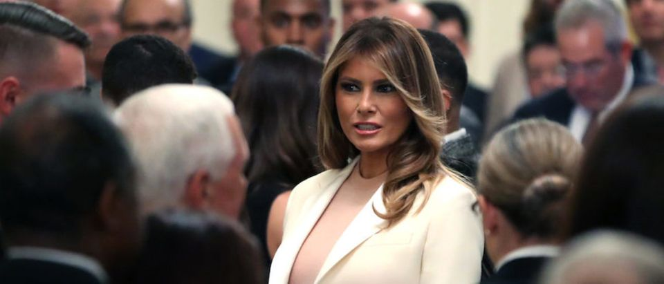U.S. first lady Melania Trump attends an event where President Donald Trump will present the Presidential Medal of Freedom to former New York Yankees player Mariano Rivera in the East Room of the White House on September 16, 2019 in Washington, DC. Rivera who retired in 2013 was unanimously voted into the Baseball Hall of Fame by the Baseball Writers' Association of America. (Photo by Mark Wilson/Getty Images)