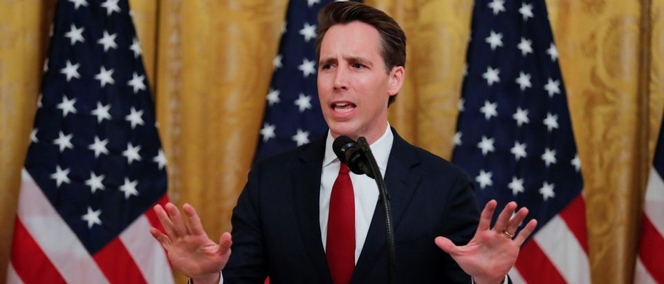 U.S. Sen. Josh Hawley addresses U.S. President Donald Trump's social media summit with prominent conservative social media figures in the East Room of the White House in Washington, U.S., July 11, 2019. REUTERS/Carlos Barria