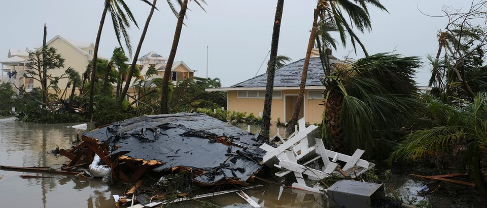 Damage at the Abaco Beach Resort is pictured during the eye of Hurricane Dorian on the Great Abaco island town of Marsh Harbour, Bahamas, Sept. 1, 2019. (REUTERS/Dante Carrer)