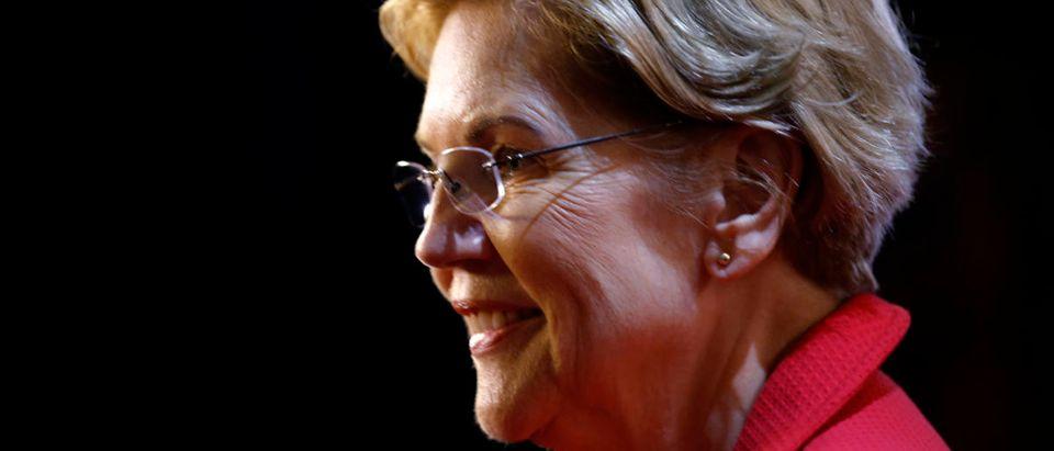 Sen. Elizabeth Warren speaks in the spin room after the 2020 Democratic U.S. presidential debate in Houston, Texas, U.S. Sept. 12, 2019. REUTERS/Jonathan Bachman