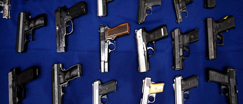 Seized guns are pictured at the police headquarters in New York