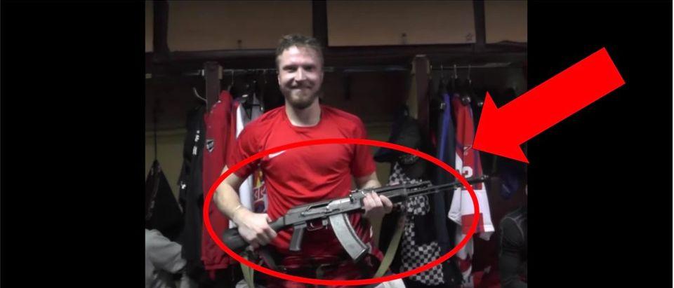 Russia Hockey AK-47 (Credit: Screenshot/YouTube Video https://www.youtube.com/watch?v=CTe5A3t-Nlw)
