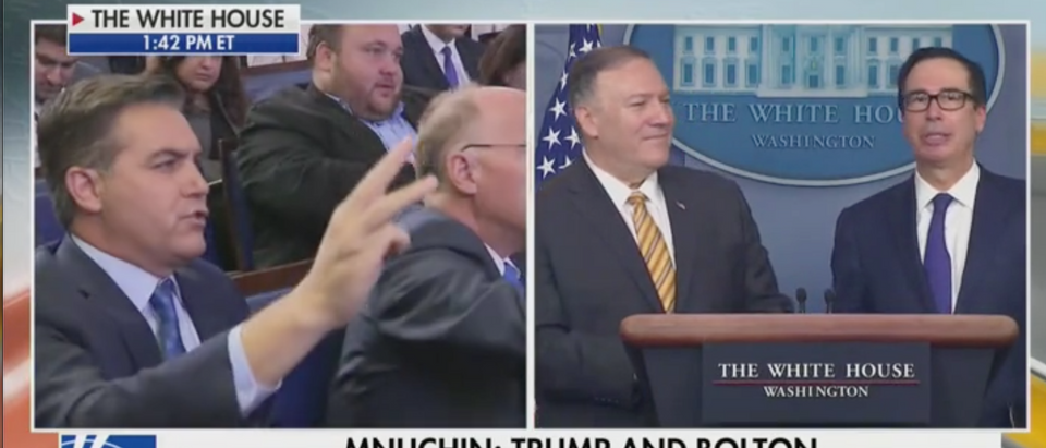 Steve Mnuchin takes a question from CNN White House correspondent Jim Acosta. Screen Shot/Fox News