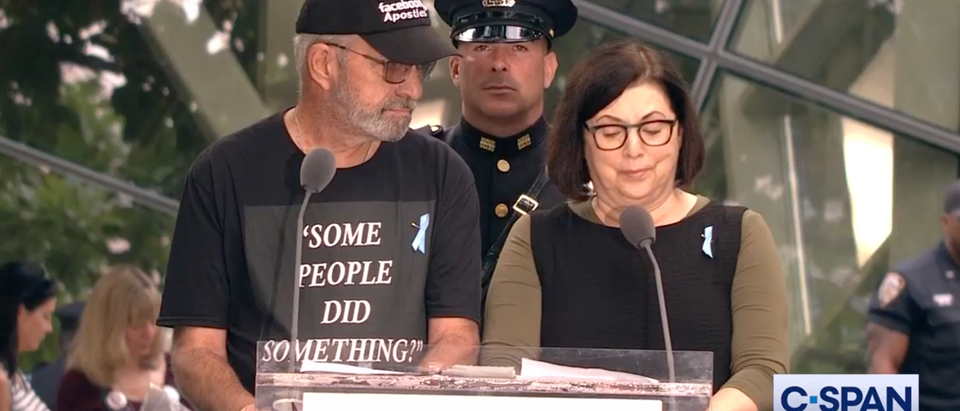 """Nicholas Haros wears """"some people did something"""" shirt to read names of 9/11 victims. Screen Shot/C-Span"""