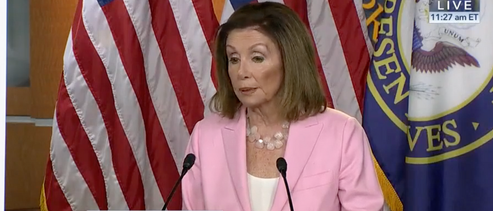 Nancy Pelosi leaves her weekly press conference early after more impeachment questions. (Screenshot C-SPAN)
