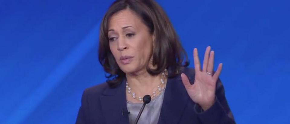 California Sen. Kamala Harris appears in the third Democratic primary debate on ABC. Screen Shot/ABC News