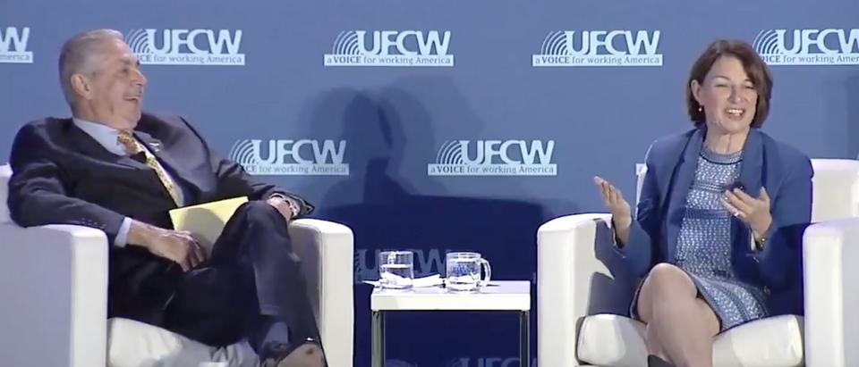 Amy Klobuchar speaks at UFCW jobs forum. Screen Shot/Twitter