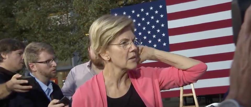 Liz Warren answers questions at New Hampshire event. (Screenshot/ Twitter)