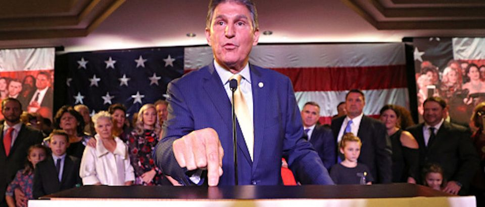Sen. Joe Manchin (D-WV) celebrates at his election day victory party at the Embassy Suites on November 6, 2018 in Charleston, West Virginia