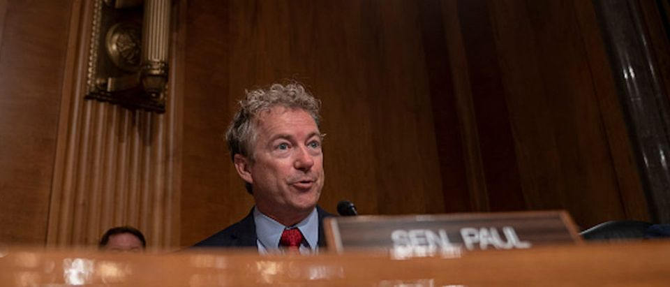 Sen. Rand Paul (R-KY) questions Acting Homeland Security Secretary Kevin McAleenan as he testifies for agency's fiscal year 2020 budget request before Senate Homeland Security Committee on Capitol Hill on May 23, 2019 in Washington, DC