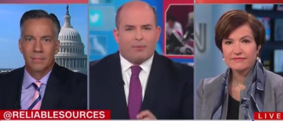 """Brian Stelter and Jim Sciutto discuss CNN spy story on """"Reliable Sources,"""" Sept. 15, 2019. (YouTube screen grab)"""