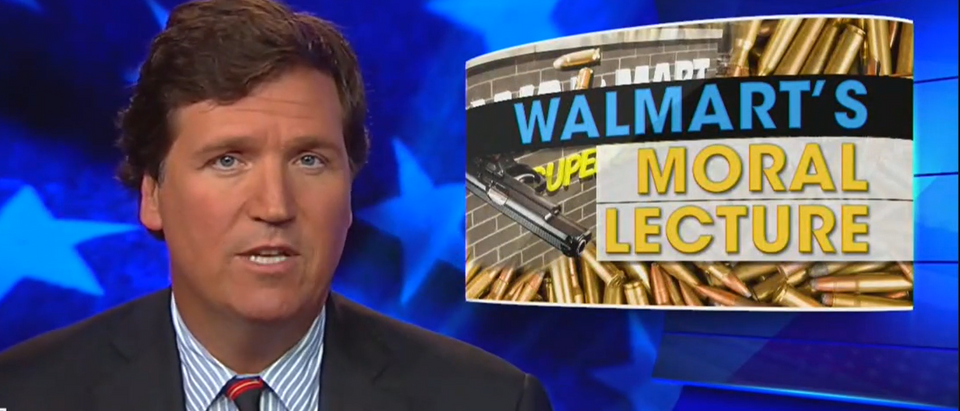Tucker Carlson blasts Walmart after gun decision (Fox News screengrab)