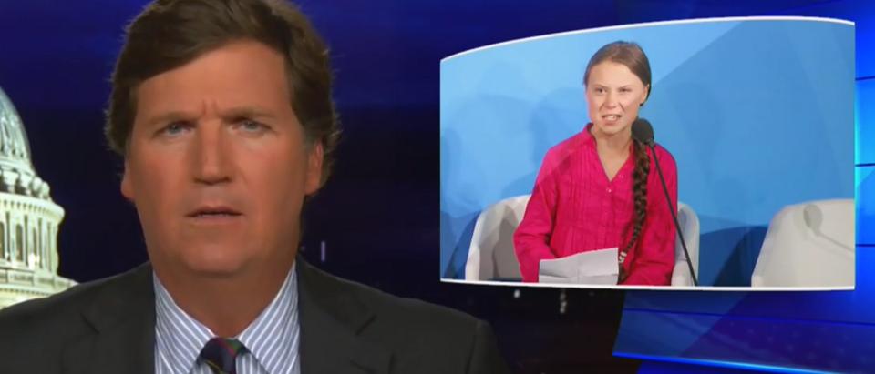 Tucker Carlson on the left's exploitation of Greta Thunberg, other climate activists (Fox News screengrab)