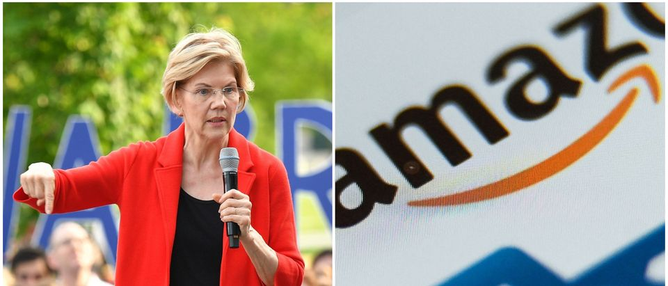 Pictured is a Liz Warren vs. Amazon side-by-side. Getty Images collage