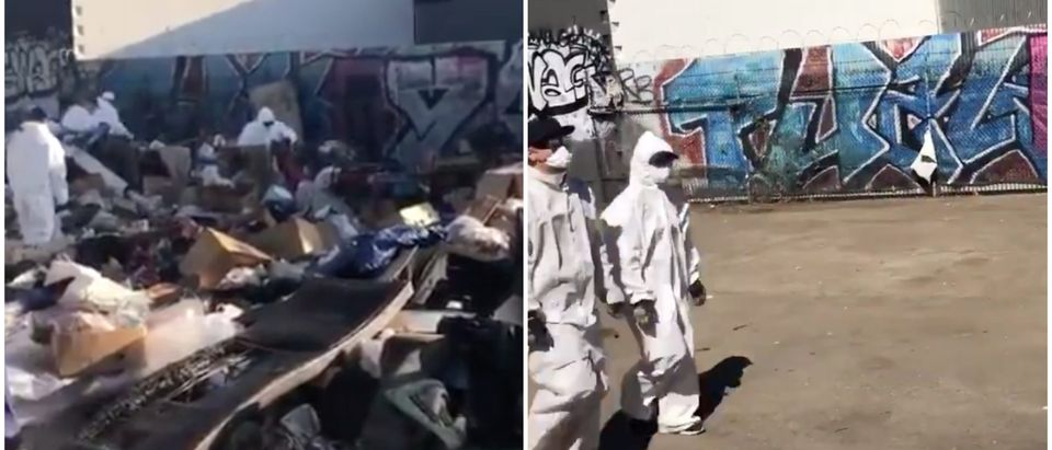 LA homeless camp cleanup/ Scott Presler/ Twitter video screenshot