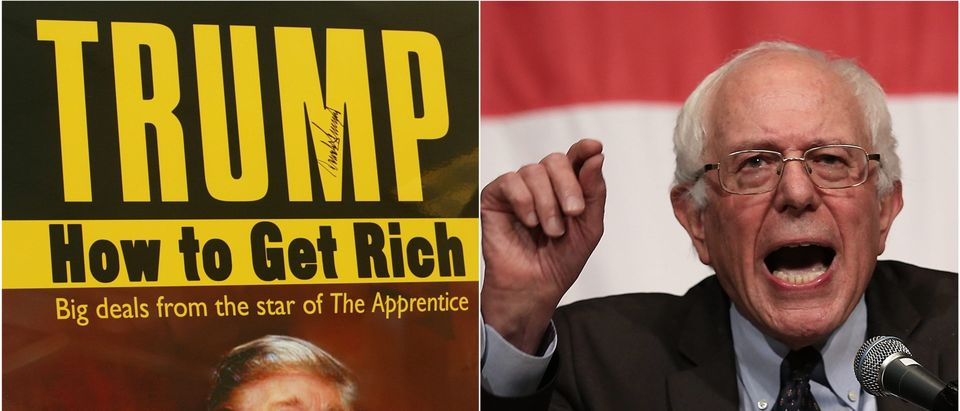 "Trump's ""How to Get Rich"" vs. Bernie Sanders side-by-side is pictured. Getty Images collage"