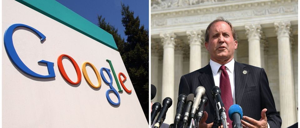Google sign and Ken Paxton side-by-side/ Getty Images collage