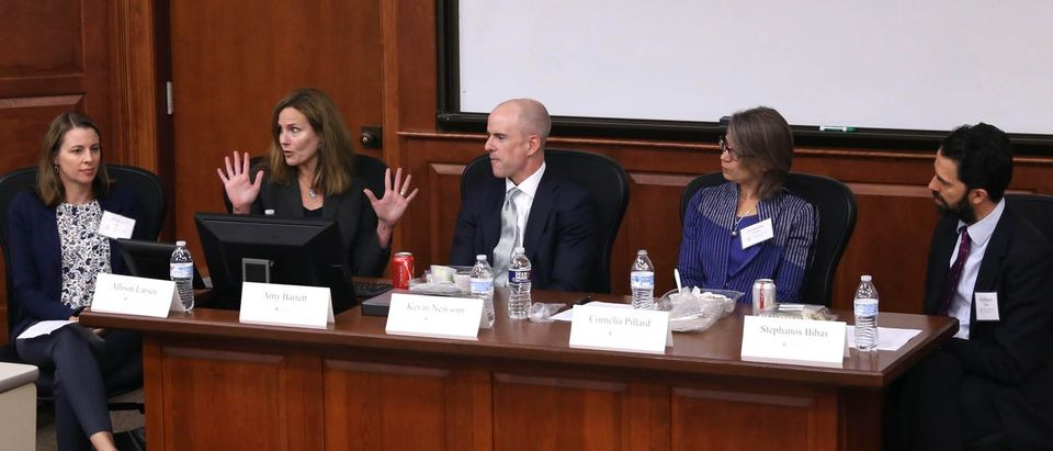 From R to L Judges Stephanos Bibas, Cornellia Pillard, Kevin Newsom, and Amy Coney Barrett at the College of William & Mary Law School. (David F. Morrill/William & Mary Law School)
