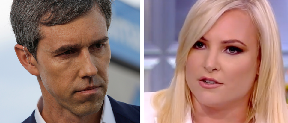 """Democratic presidential candidate Beto O'Rourke is seen at the site of a mass shooting where 20 people lost their lives at a Walmart in El Paso, Texas, U.S. August 4, 2019. REUTERS/Jose Luis Gonzalez/Meghan McCain appears on """"The View."""" Screen Shot/ABC"""