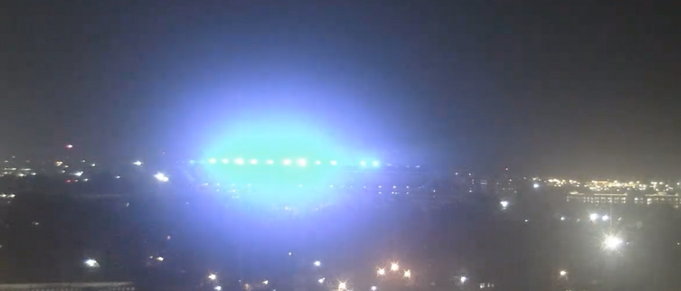 University of Alabama's Bryant-Denny Stadium goes blue to honor fallen police officer. Screen Shot/YouTube/
