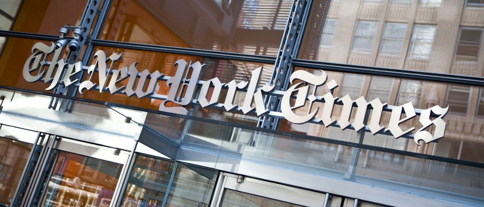 The New York Times logo is seen on the headquarters building. (Ramin Talaie/Getty Images)