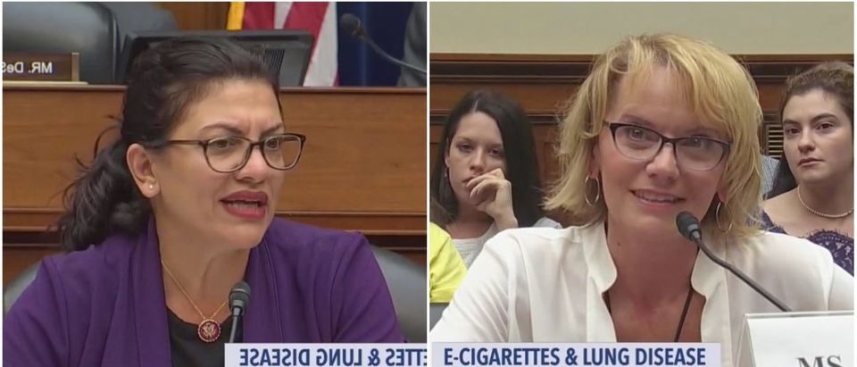 Left: Rashida Tlaib, Right: Vicki Porter (Both images: CSPAN screenshot)