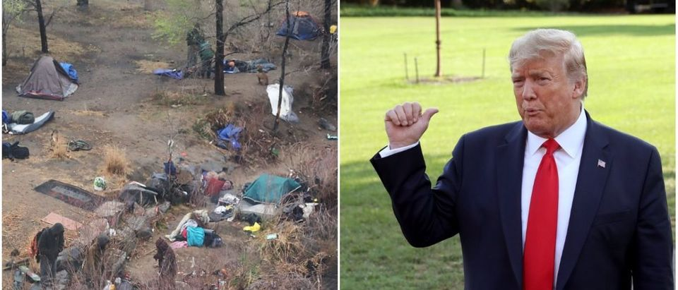 Left: San Francisco Homeless Camp (Getty Images), Right: President Donald Trump (Getty Images)