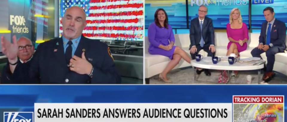 "Sarah Sanders takes audience questions in ""Fox & Friends"" debut. Screen Shot/Fox News"