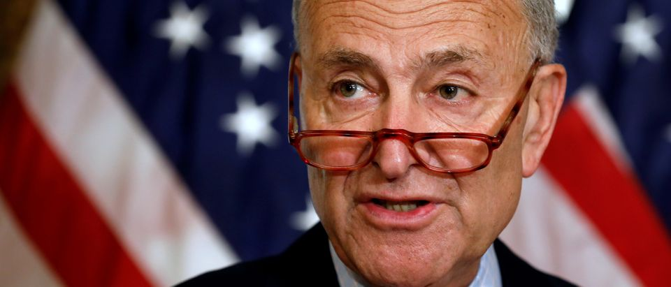 Senate Minority Leader Chuck Schumer talks to reporters on Capitol in Washington, U.S., Aug. 1, 2019. REUTERS/Yuri Gripas