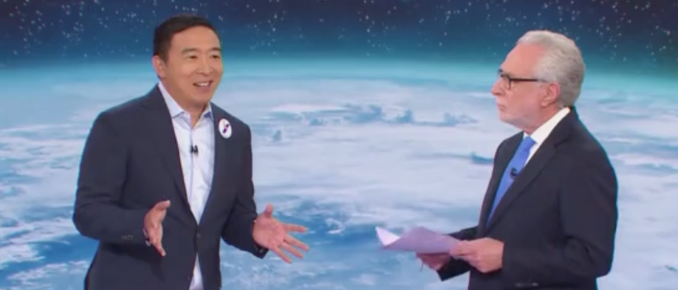 Andrew Yang appears on CNN's Climate Town Hall event with Wolf Blitzer. Screen Shot/CNN