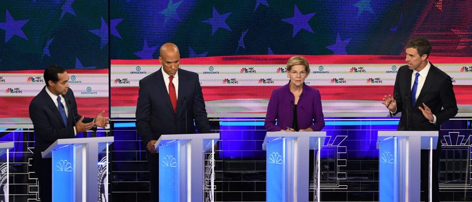 Democratic presidential hopefuls during the first primary debate in Miami, Florida on June 26, 2019. (Jim Watson/AFP/Getty Images)