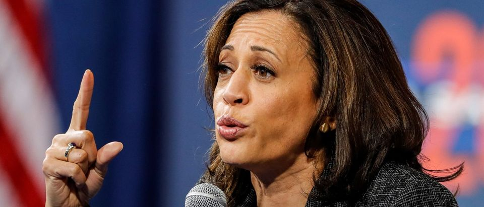 U.S. Democratic presidential candidate Sen. Kamala Harris (D-CA) responds to a question during a forum held by gun safety organizations the Giffords group and March For Our Lives in Las Vegas