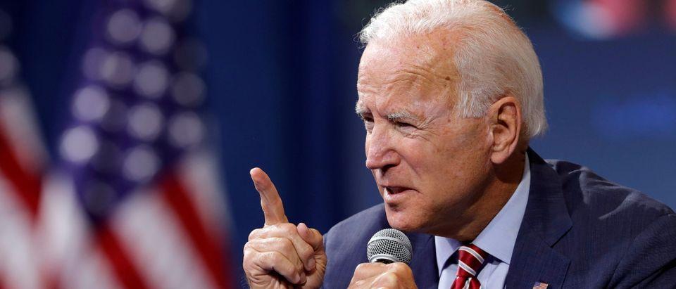 U.S. Democratic presidential candidate and former U.S. Vice President Joe Biden speaks during a forum held by gun safety organizations the Giffords group and March For Our Lives in Las Vegas, Nevada, U.S., Oct. 2, 2019. REUTERS/Steve Marcus/File Photo