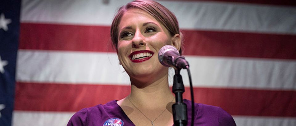 Congressional candidate Katie Hill speaks during her election night watch party at the Canyon in Santa Clarita, CA