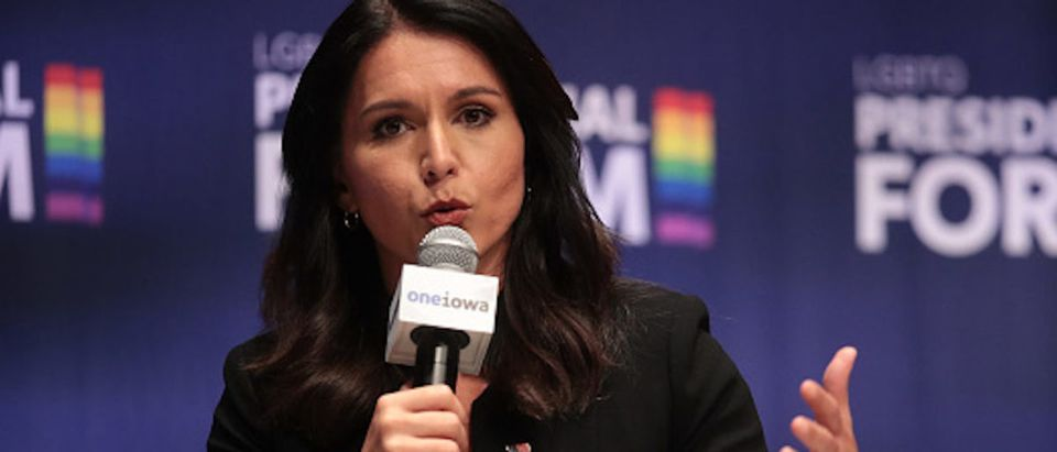 Democratic presidential candidate and Hawaii congresswoman Tulsi Gabbard speaks at an LGBTQ presidential forum at Coe College's Sinclair Auditorium on September 20, 2019