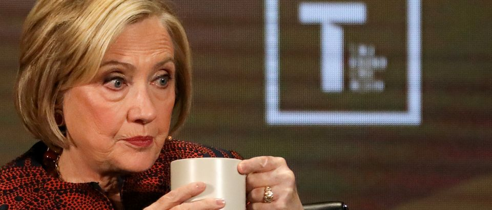 FILE PHOTO: Former Secretary of State Hillary Clinton appears on stage at the Women In The World Summit in New York