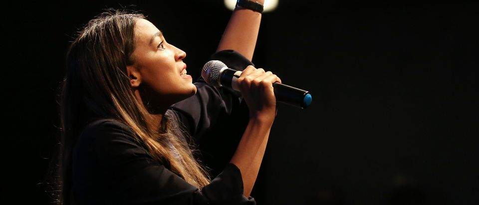 U.S. House candidate Alexandria Ocasio-Cortez speaks at a progressive fundraiser on Aug. 2, 2018 in Los Angeles, California. (Photo by Mario Tama/Getty Images)